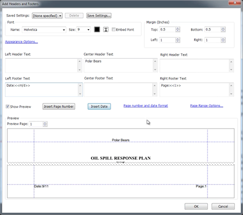You can place a header or footer on the left, center or right. You can insert page numbers and/or the date. You can even add prefix text that goes before the page number or date. So just fill in the fields with the information you want to include and you'll have added a header and footer into your document.