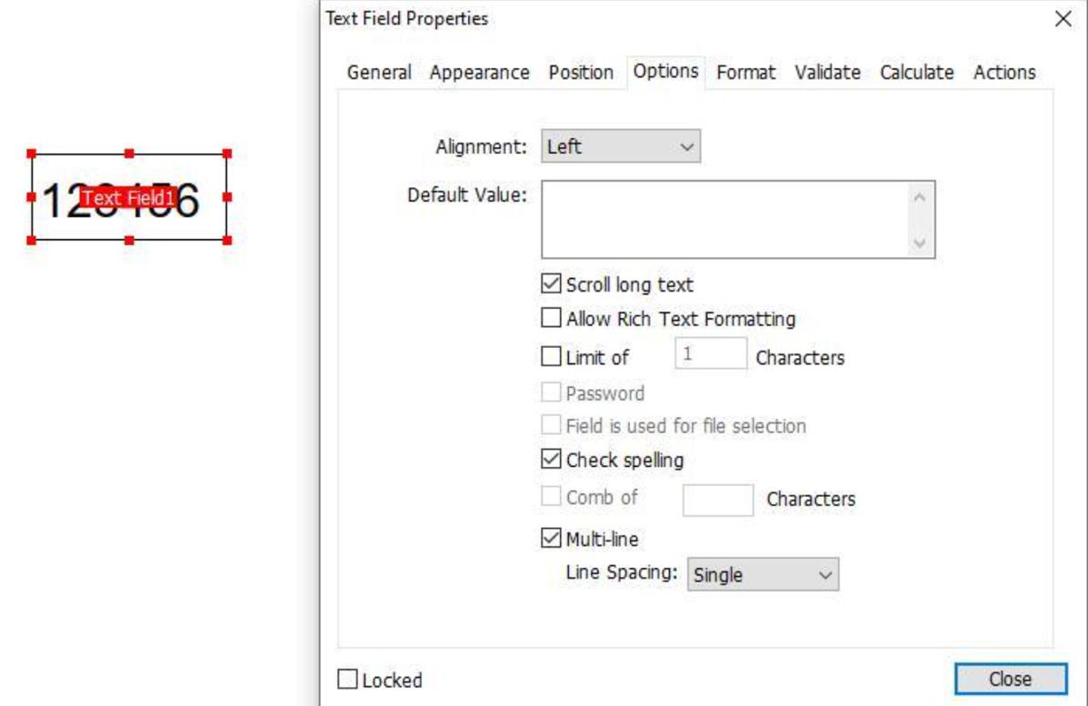 Text Field Properties