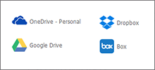 Integra OneDrive, Google Drive, Dropbox, Box y Alfresco