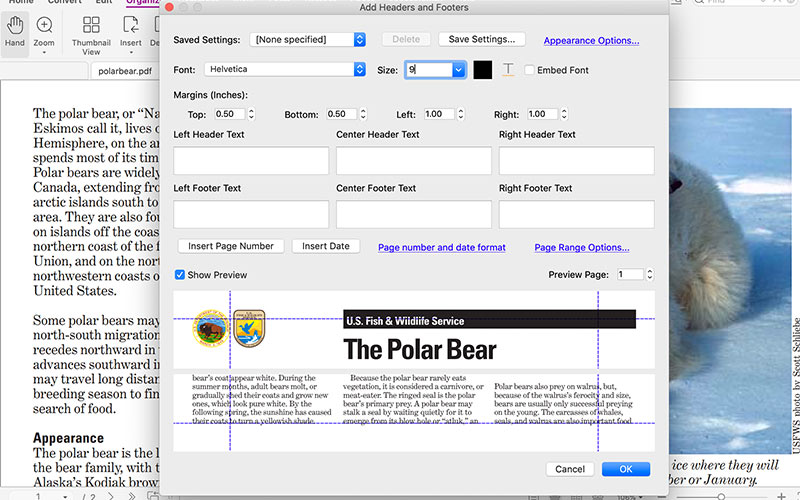 How to Add headers and footers with PDF Editor Mac