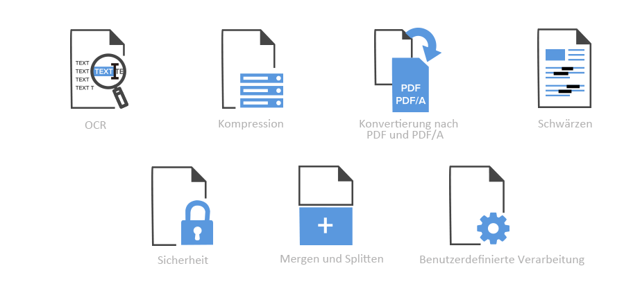 OCR, Compress, Convert to PDF and PDF/A, Redact, Secure, Merge and Split, Custom Processing for Specific Use Cases