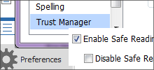 Trust manager (safe mode)
